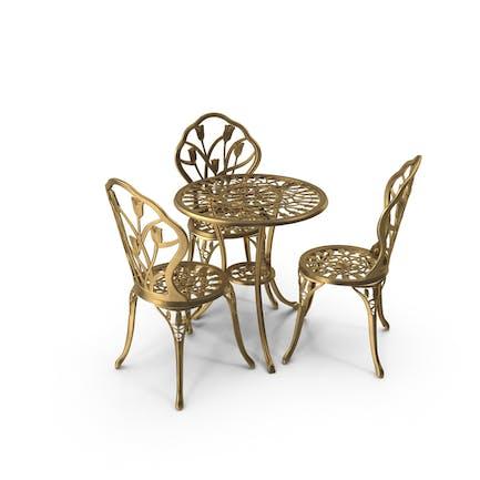 Tisch- und Stuhl-Set aus goldenem Eisen