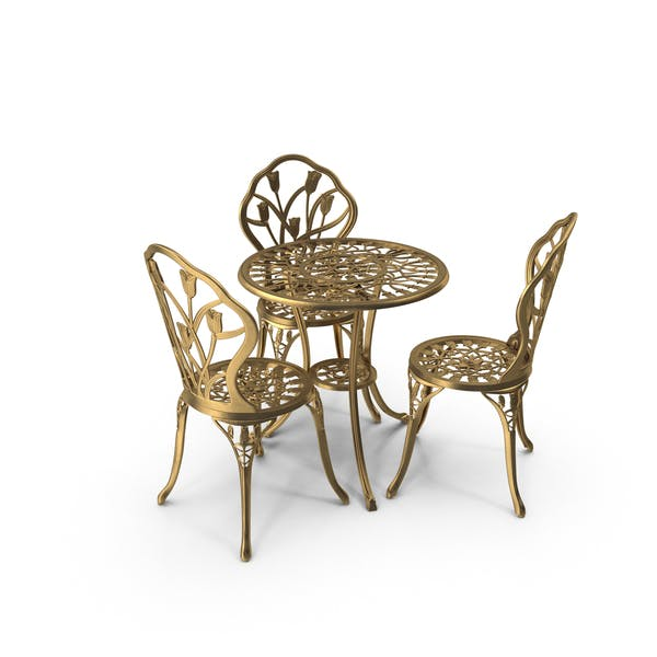 Golden Iron Dining Table & Chair Set