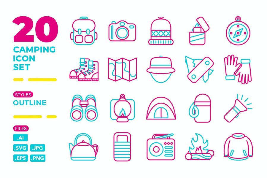 Camping Icon Set (Outline)