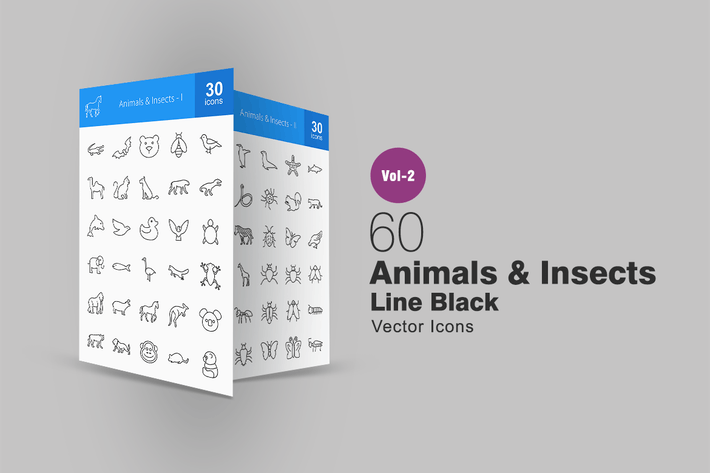 Thumbnail for 60 Animals & Insects Line Icons