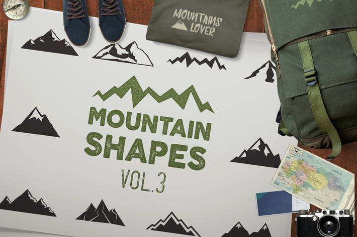 Thumbnail for Vintage Mountain Shapes & Tee Design Vol.3