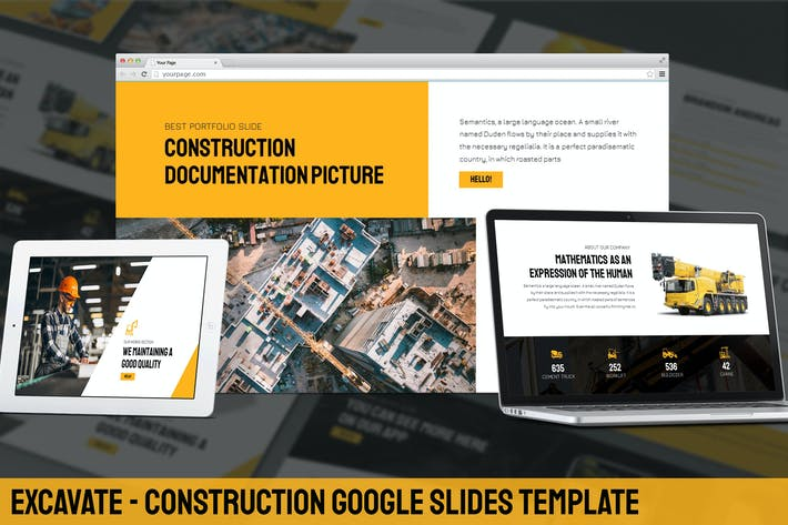 Thumbnail for Excavate - Construction Google Slides Template