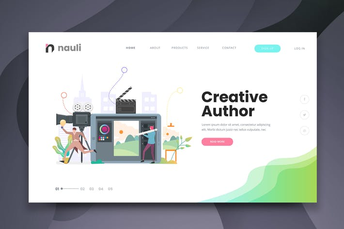 Thumbnail for Creative Author Web PSD and AI Vector Template