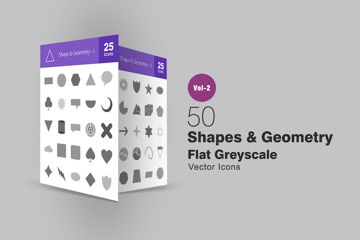 Thumbnail for 50 Shapes & Geometry Greyscale Icons
