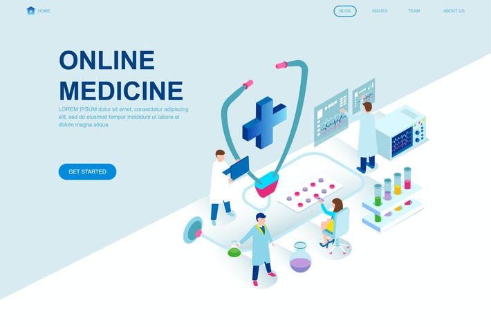 Cover Image For Medicine Isometric Landing Page Template