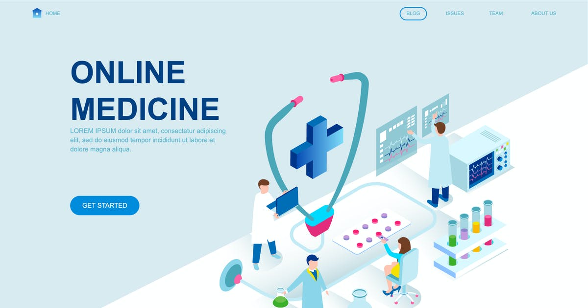 Download Medicine Isometric Landing Page Template by alexdndz