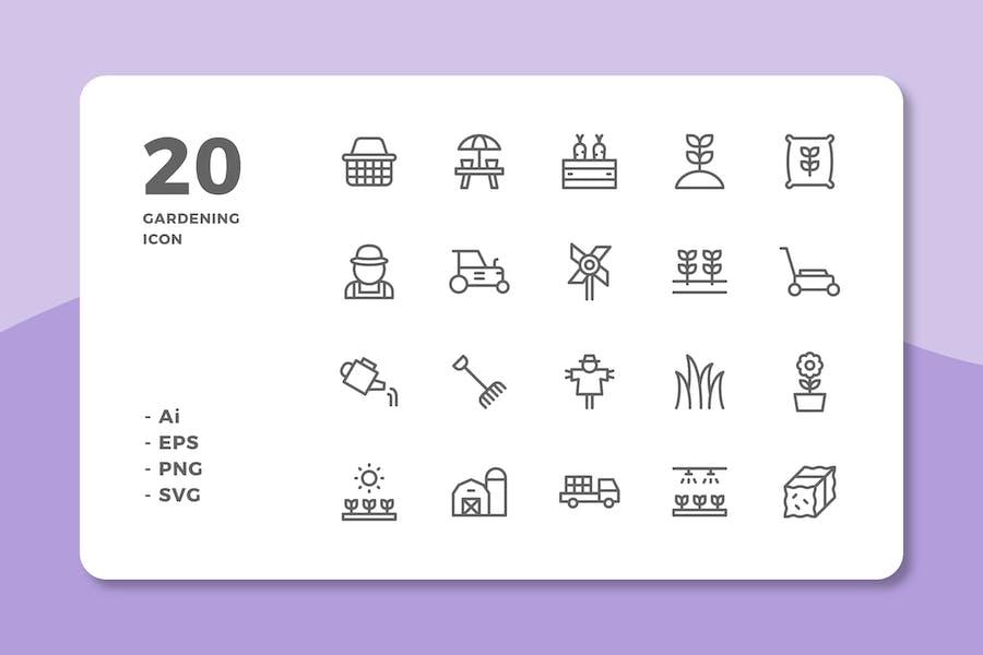 20 Gardening Icons (Line)