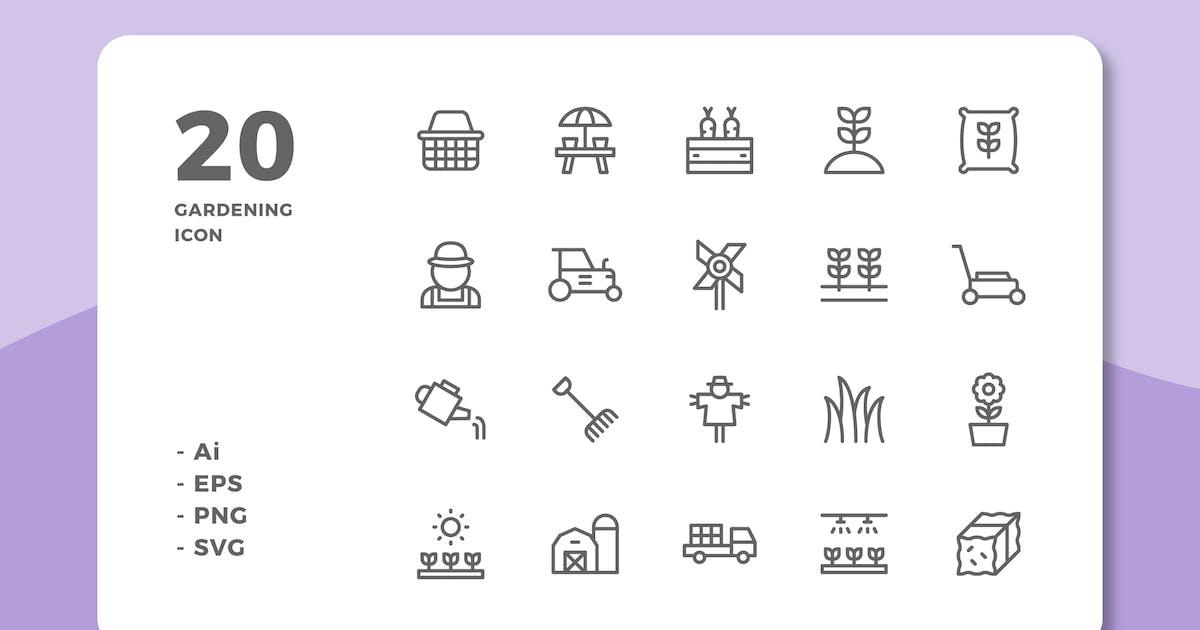 Download 20 Gardening Icons (Line) by deemakdaksinas