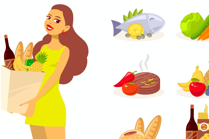 Thumbnail for Woman grocery shopping with set of food icons