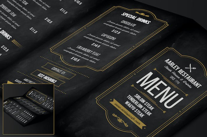 Thumbnail for Blackboard Food Menu (Trifold) + Business Card