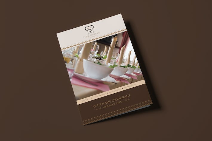 Thumbnail for Fine Dining Restaurant-Bifold A5 Brochure Template