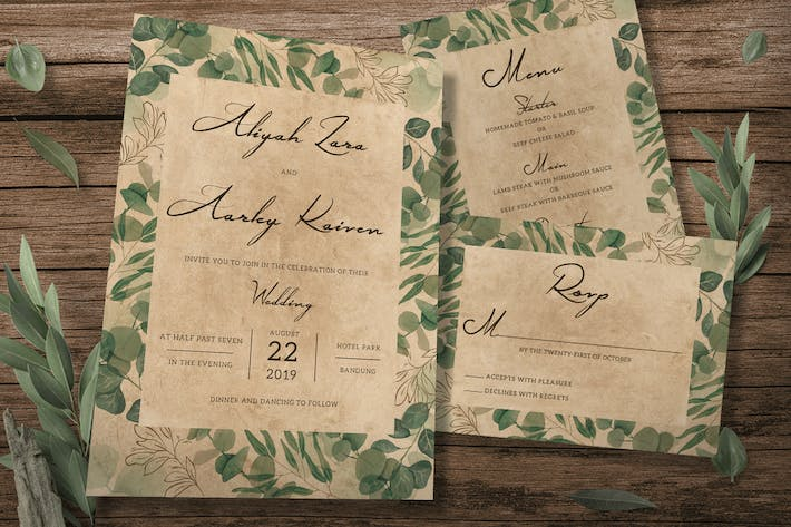 Thumbnail for Vintage Foliage Wedding Invitation