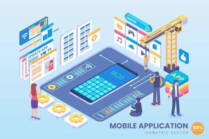Thumbnail for Isometric Mobile Application Development Vector