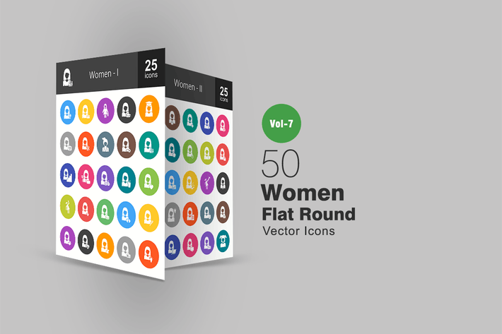 Thumbnail for 50 Women Flat Round Icons