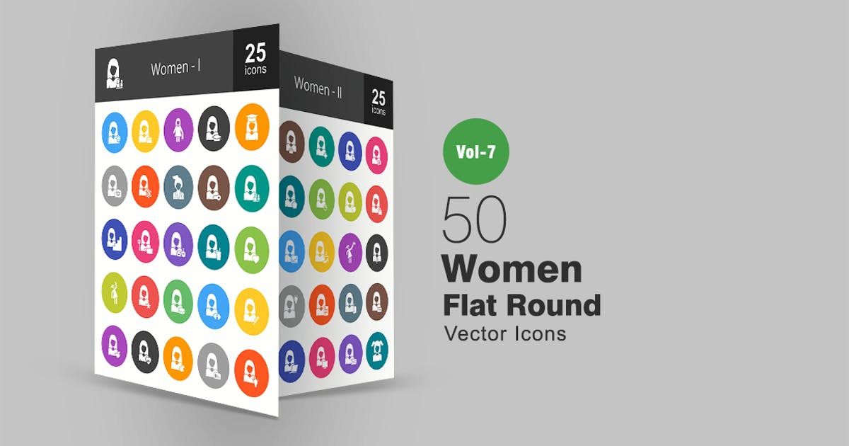 Download 50 Women Flat Round Icons by IconBunny