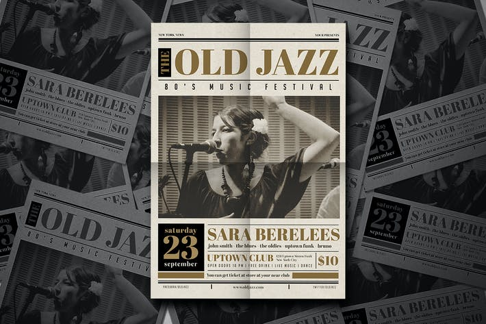 Thumbnail for Old newspaper Jazz Flyer