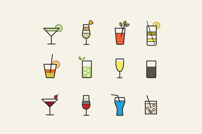 Thumbnail for 12 Cocktail Icons