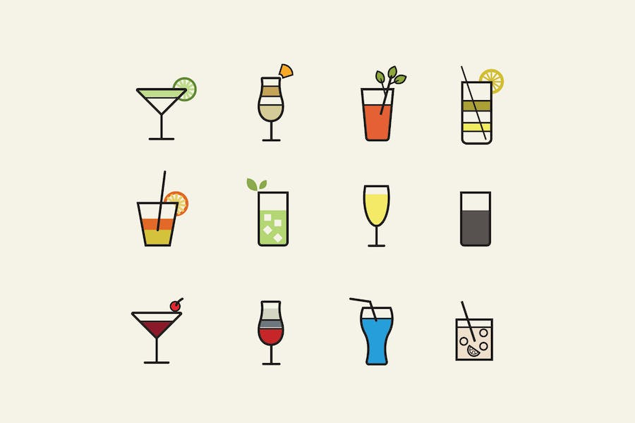 12 Cocktail Icons