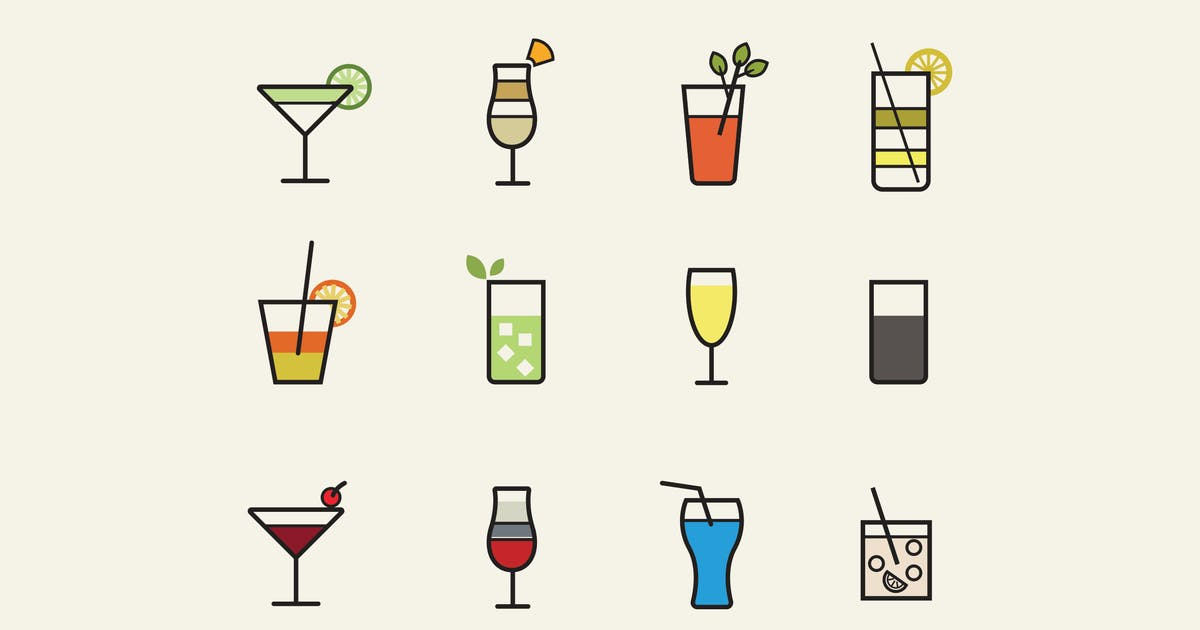 12 Cocktail Icons by Unknow