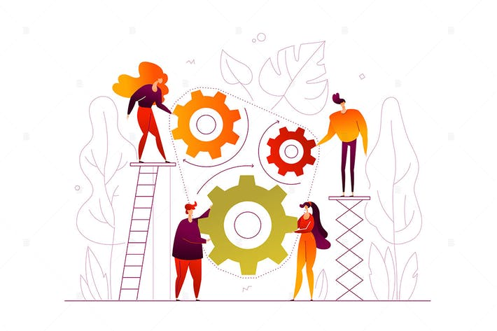 Thumbnail for Teamwork - flat design style colorful illustration