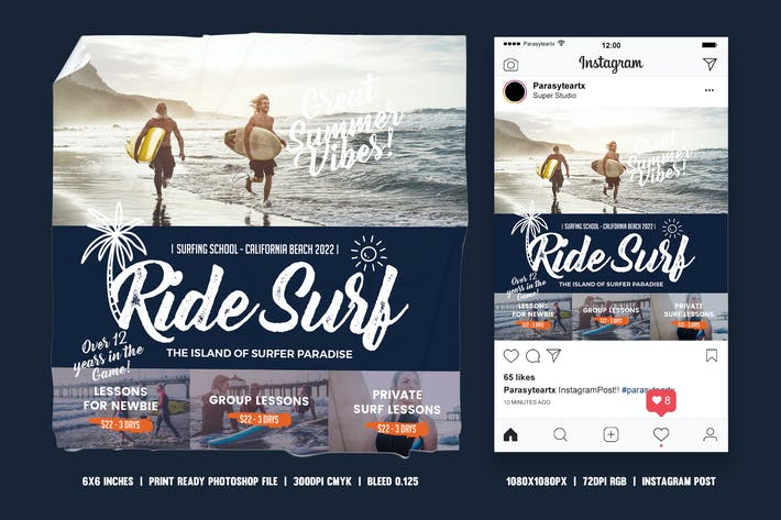 Thumbnail for Surf Training Square Flyer & Instagram Post