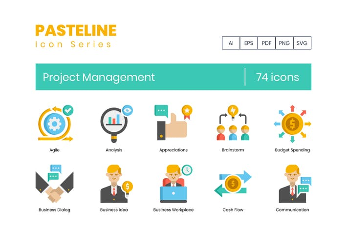 Thumbnail for 74 Project Management Flat Icons