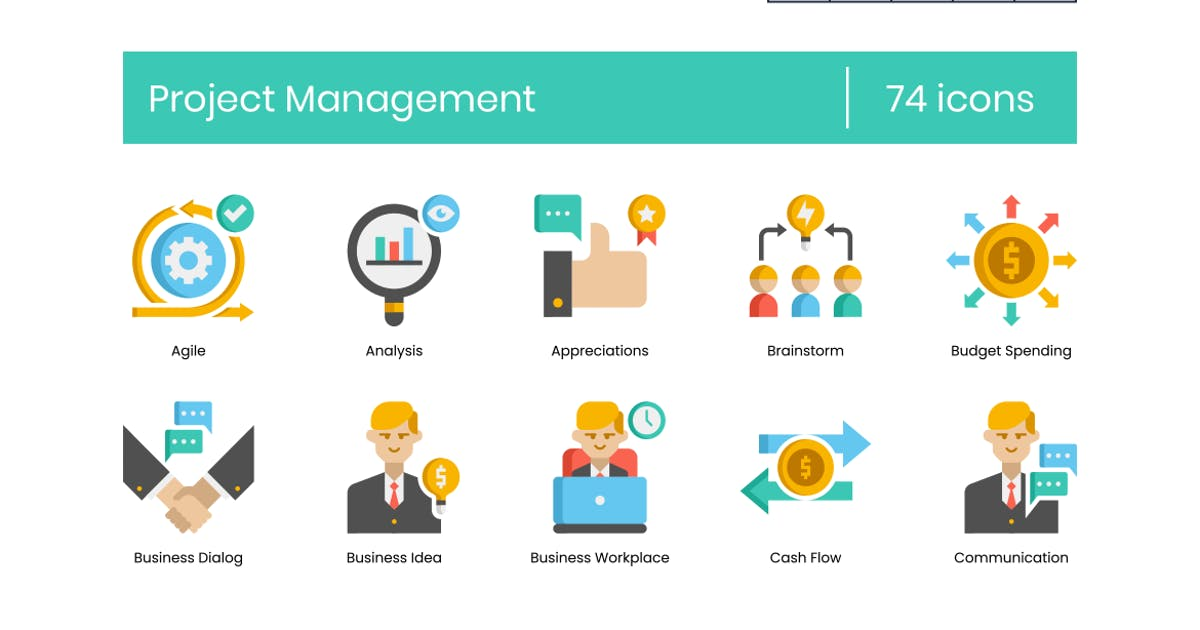 Download 74 Project Management Flat Icons by Krafted