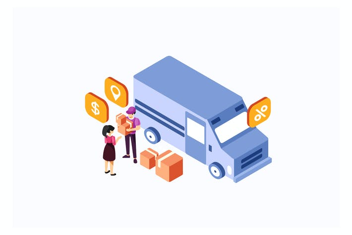 Thumbnail for Isometric Delivery Truck Services Illustration