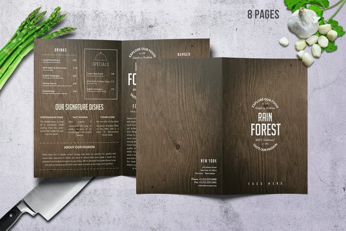 Thumbnail for Rain Forest Bifold Menu A4 & US Letter