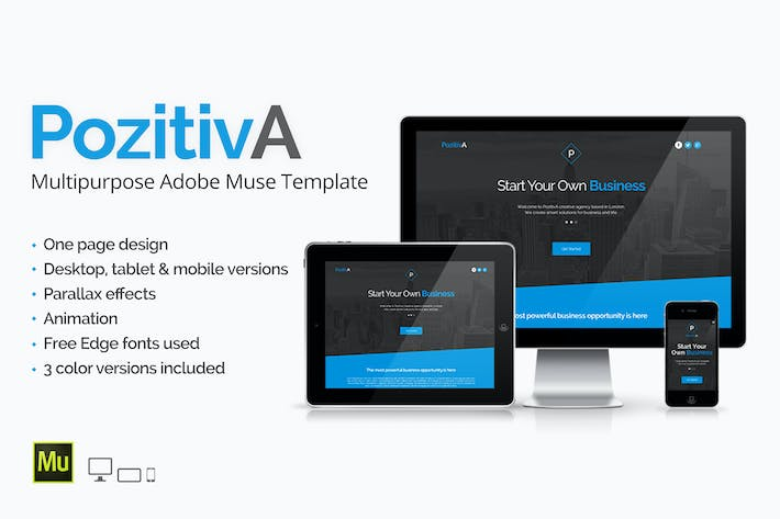 Thumbnail for PozitivA - Multipurpose One Page Muse Template