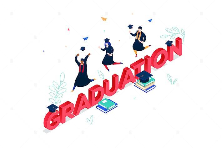 Thumbnail for Graduation concept - isometric illustration