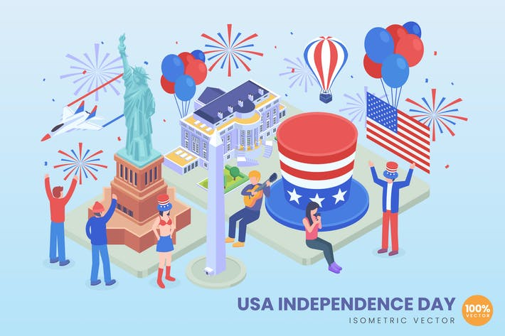 Thumbnail for Isometric USA Independence Day Concept