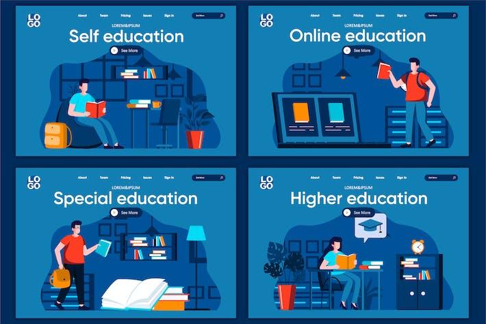 Modèle de page de destination du concept d'éducation Flat