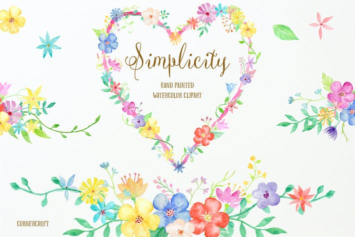 Thumbnail for Watercolor Clipart Simplicity Collection