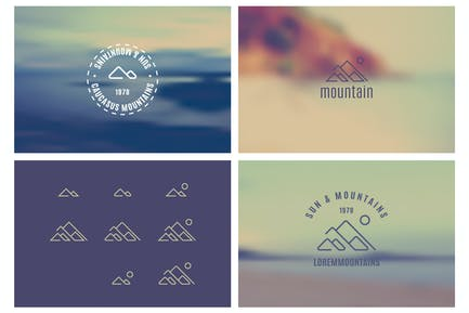 Trendy Retro Vintage Insignias with a blurred back