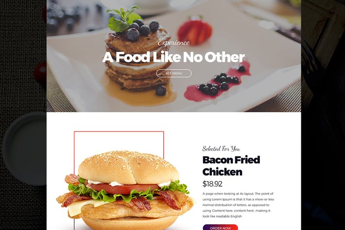 Thumbnail for Restaurant Landing Page Template