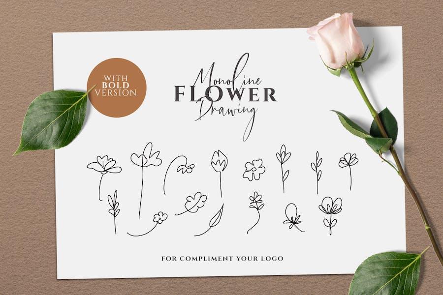 Monoline Flower Drawing