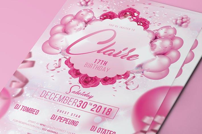 Thumbnail for Rosa Geburtstagsparty-Flyer/Einladung
