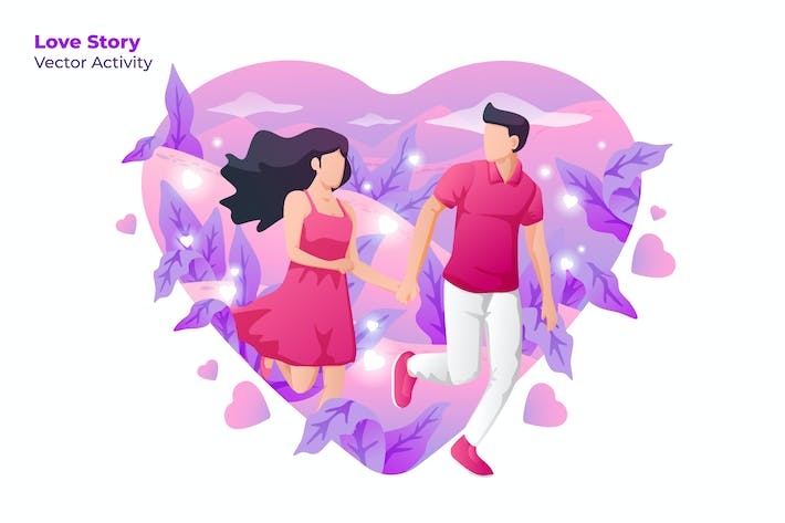 Cover Image For Love Story - Vector Illustration