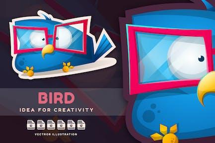 Smart Bird in Glasses - Cute Sticker