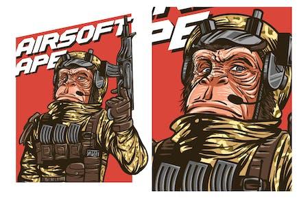 Airsoft Gun Ape Tshirt Graphic