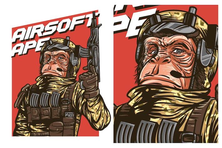 Thumbnail for Airsoft Gun Ape Tshirt Graphic