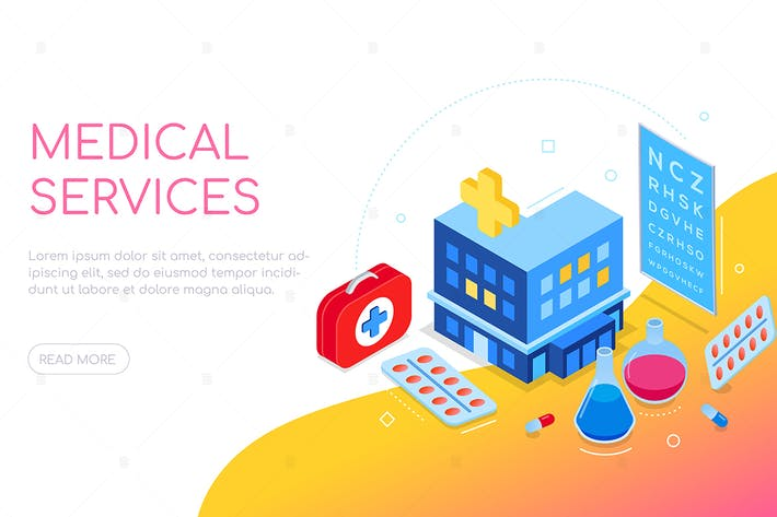 Thumbnail for Medical services - colorful isometric web banner