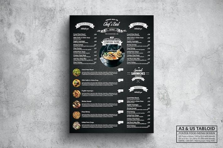 Thumbnail for Темный плакат меню еды - A3 & US Tabloid