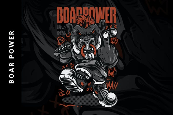 Thumbnail for Boar Power T-Shirt Design