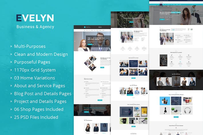 Thumbnail for Evelyn - Multipurpose Business PSD Template