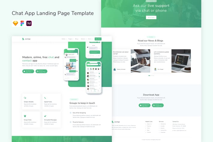 Thumbnail for Chat App Landing Page Template