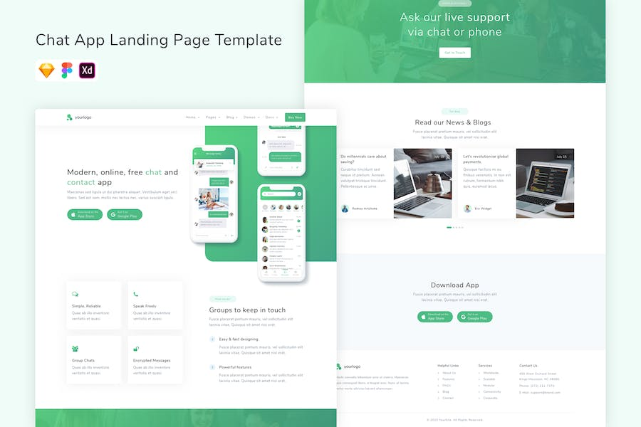 Chat App Landing Page Template