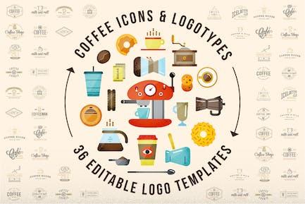 58 Coffee Icons & 36 Editable Logos
