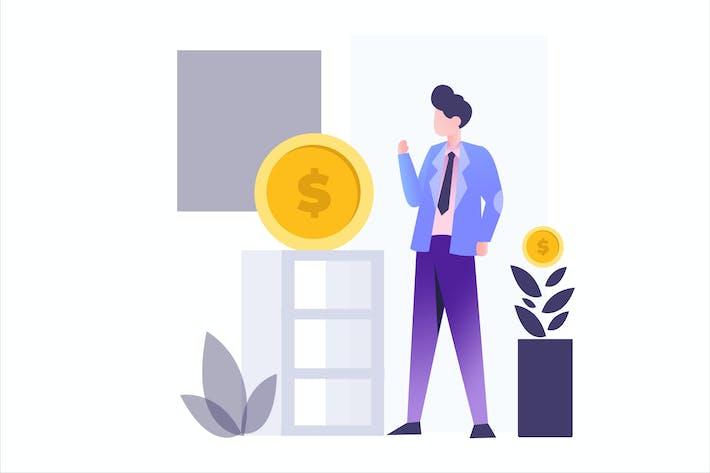 Thumbnail for Иллюстрация с плоским Вектор ным финансированием инвестиций
